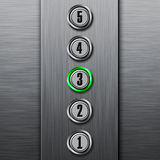 Elevator buttons panel. Metal textured elevator buttons panel Royalty Free Stock Photography