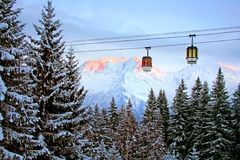 Elevator cabin in Alps Royalty Free Stock Image