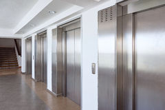 Elevator cabin stainless steel Stock Images