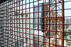 Elevator Cage. Inside an exterior construction elevator cage Stock Photos