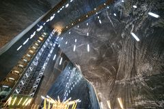 Elevator and ceiling in the Salt Mine Salina Turda museum. In Romania stock images