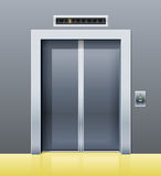 Elevator with closed door stock illustration