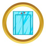 Elevator with closed door icon. In golden circle, cartoon style isolated on white background vector illustration