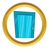 Elevator with closed door vector icon. In golden circle, cartoon style isolated on white background Royalty Free Stock Photo