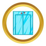 Elevator with closed door vector icon. In golden circle, cartoon style isolated on white background Stock Photo