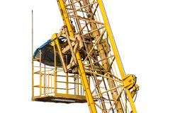 Elevator. Of construction crane closeup isolated on white Royalty Free Stock Photos