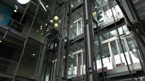Elevator descends in the business center stock footage