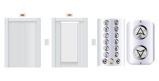 Elevator with design elements. Metal shields. Vector 3d illustration royalty free illustration