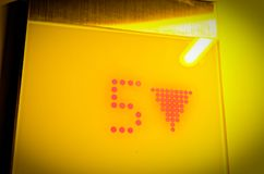 Elevator Display of the floor with the number 5 in yellow optics royalty free stock photos