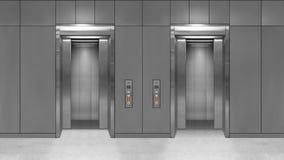 Sliding steel door elevator open showing lift interior. Office building with grey walls.