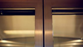 Elevator doors open in supermarket lift stock video footage