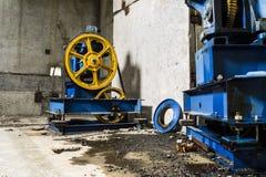 Elevator engine. In abandoned house Royalty Free Stock Image
