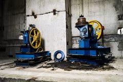 Elevator engine. In abandoned house Royalty Free Stock Photo