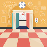 Elevator flat design concept and icons of science, technolo Stock Photos
