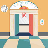 Elevator flat design concept and icons of science, technolo Stock Photo