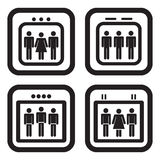 Elevator icon in four variations.  Royalty Free Stock Images