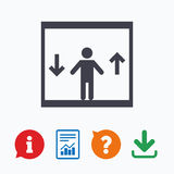 Elevator icon. Person symbol with up down arrows Royalty Free Stock Photo