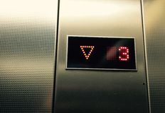 Elevator keypad. Modern elevator keypad in grey number 3 Royalty Free Stock Image