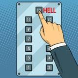 Elevator metaphor pop art vector illustration. Top floor hell metaphor pop art retro vector illustration. Hand press button in elevator. Comic book style Royalty Free Stock Photo