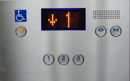 Elevator moving down to first floor Royalty Free Stock Photo