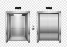 Free Elevator. Open And Closed Chrome Metal Elevator Doors, Modern Passenger Or Cargo Lift, Lobby Design Inside Building Royalty Free Stock Image - 172007946