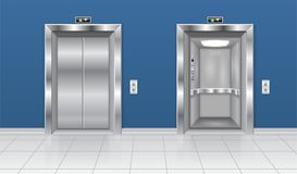 Elevator with open and closed door. In the building interior with blue walls. Vector 3d illustration stock illustration