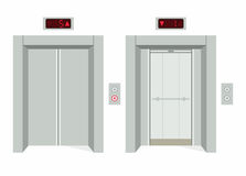 Elevator open and closed doors Royalty Free Stock Photos