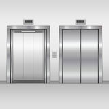 Elevator open and closed doors. Royalty Free Stock Images