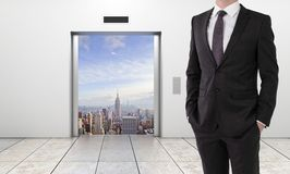 Elevator with opened door to city Royalty Free Stock Photo
