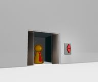 Elevator. Play figure with tie in elevator - 3d illustration Royalty Free Stock Photos