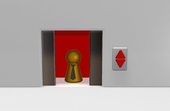 Elevator. Play figure with tie in elevator - 3d illustration Royalty Free Stock Photo