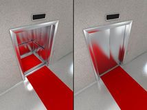 Elevator with red carpet Royalty Free Stock Photo