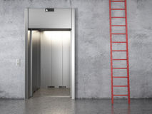 Elevator and red stair Royalty Free Stock Photography