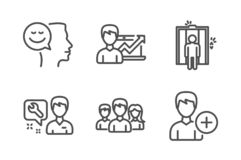 Elevator, Repairman and Success business icons set. Good mood, Teamwork and Add person signs. Vector. Elevator, Repairman and Success business icons simple set vector illustration