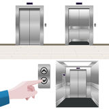 Elevator set: open, closed, control panel, inside Royalty Free Stock Photos