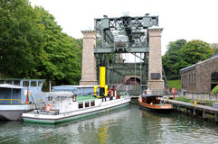 An elevator for ships in Germany. The Henrichenburg boat lift facilitates a change in elevation of the Dortmund-Ems-Kanal in Waltrop-Oberwiese Royalty Free Stock Photo