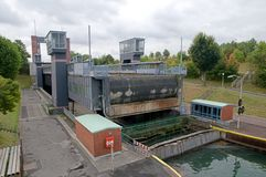 An elevator for ships in Germany. The new boat lift at Henrichenburg, Germany - dortmund-ems-kanal Stock Photos