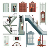 Elevator And Stairs Set. With speed and floor symbols flat isolated vector illustration stock illustration