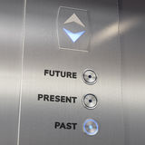 Elevator time machine going to the past Royalty Free Stock Photo