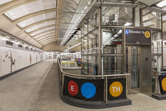 Elevator to the 72nd Street Subway Platform. February 5, 2017: An elevator in the 72nd Street concourse of the new Second Avenue subway Royalty Free Stock Photo