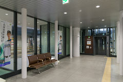 Elevator and waiting space in Shin-Hakodate-Hokuto station. Royalty Free Stock Image