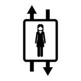 elevator with woman inside icon Royalty Free Stock Photography