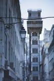 Elevatore della Santa Justa al crepuscolo fotografia stock