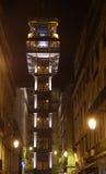 Elevatore della Santa Justa entro la notte Fotografia Stock Libera da Diritti