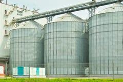 Elevatore di grano Concetto di pulizia, di essiccazione, di stoccaggio e di trasporto di grano agricolo fotografia stock libera da diritti