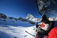 Elevatore di pattino sopra Matterhorn fotografia stock