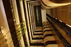 Elevators in atrium of hote. L/convention center Stock Photo