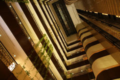 Elevators in atrium of hotel. /convention center Royalty Free Stock Image