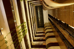 Elevators in atrium of hotel/convention center Stock Photography