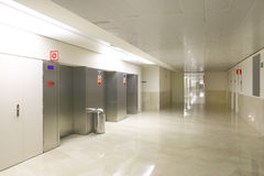 Elevators on Hospital entrance and corridor Royalty Free Stock Photos